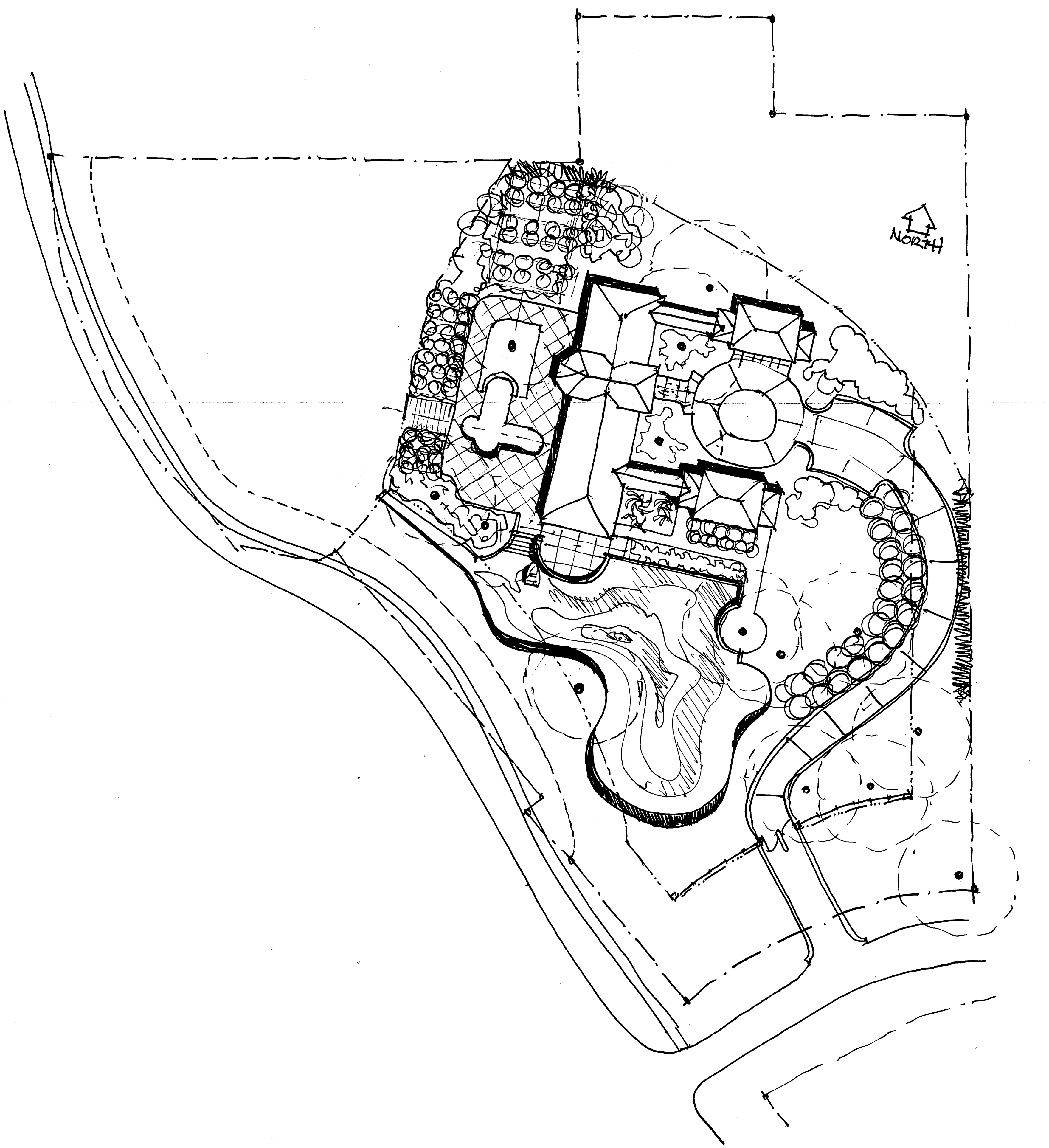 The Grove site plan features 8,000 sq.ft. five bedroom, six and one half bath, Mediterranean plan incorporates gracious arched loggias, courtyards & vaulted beamed ceilings