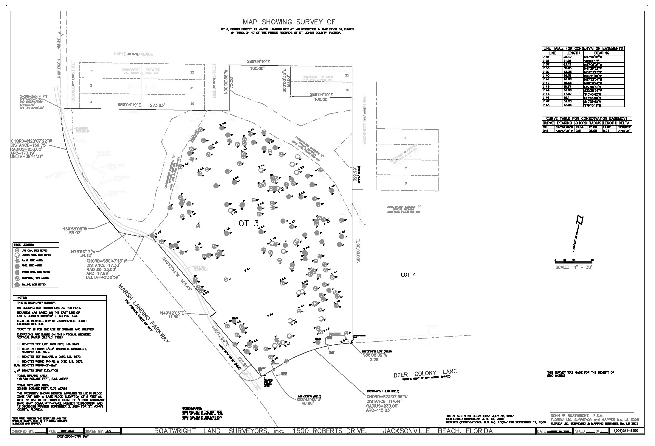 Survey of Lot #3 in the Found Forest enclave in Marsh Landing Country Club