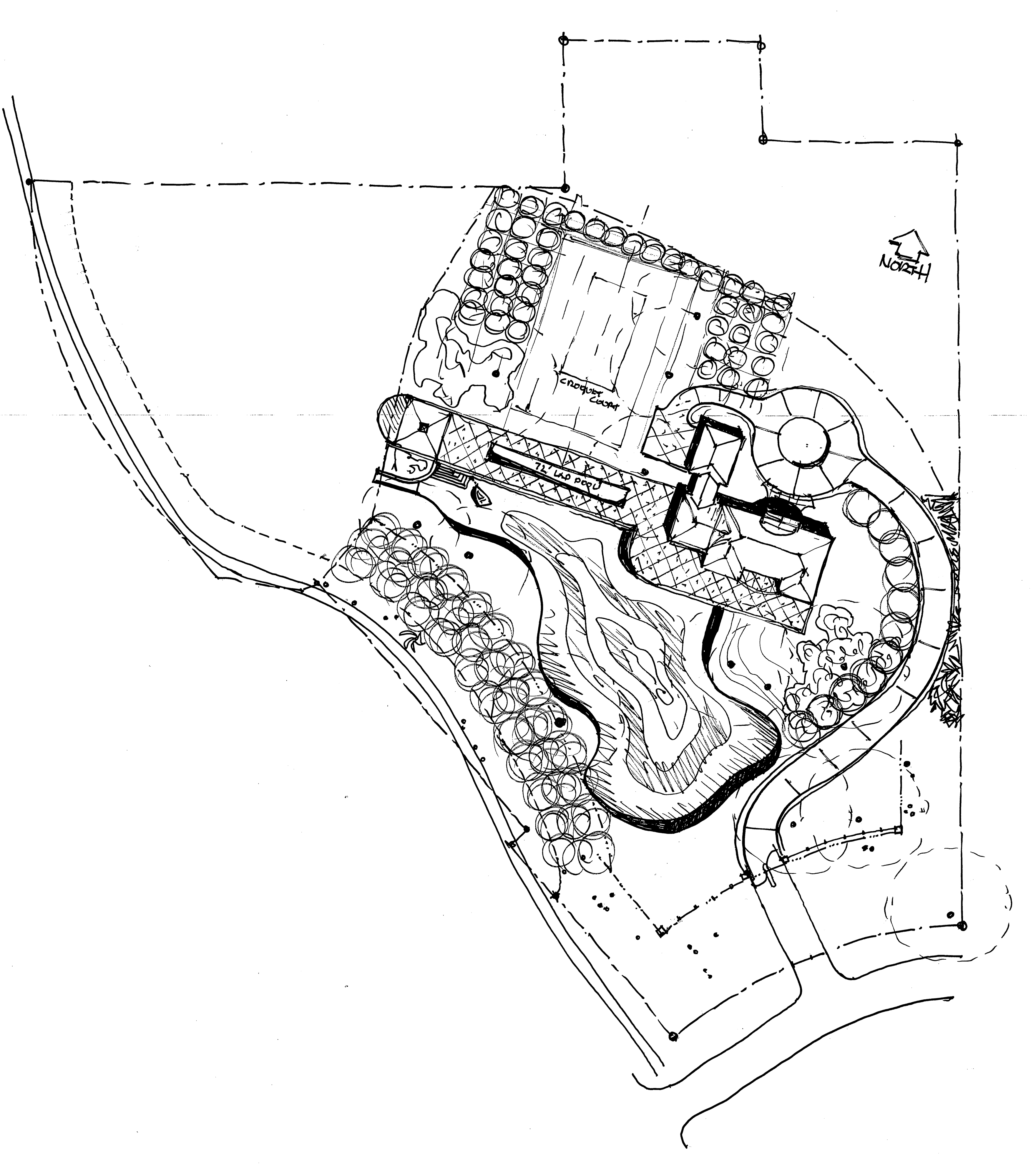 The Tillandsia Site Plan features a 5,000 sq.ft., four bedroom, five bath home, oversize three car garage with New England heritage